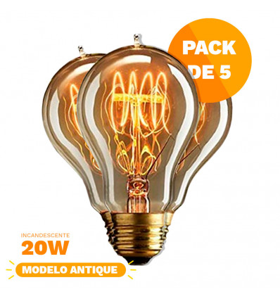 Pack X5 Lampara Clara Alic Antique Filamento 20w A19