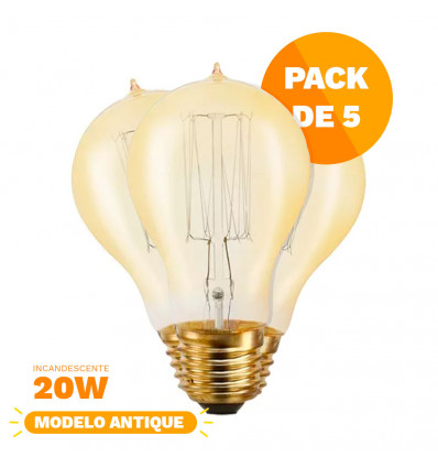 Pack X5 Lampara Clara Alic Antique Filamento 20w A21