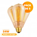Pack X5 Lampara Clara Alic Antique Filamento 24w St64