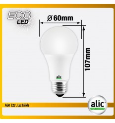 Lampara Alic Led A60 7w Luz Calida