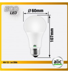 Lampara Led Alic A60 10w Luz Calida