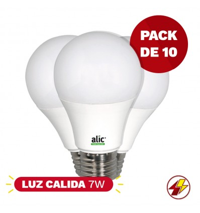 Pack X10 Lamparas Alic Led 7w Luz Calida